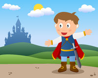 Prince is Back to the Castle. Fairy tale scene: a little Prince charming in a country landscape with a castle in the background. Eps file available royalty free illustration