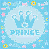 Prince background with Crown illustration in blue Stock Photography