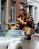 Prince Carnival Aalst 2016. AALST, BELGIUM, FEBRUARY 7 2016: Prince Carnival Dennis de Wolf, rides through the streets during the Carnival Parade in Aalst, which Royalty Free Stock Image