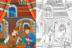 Prince in the castle chamber - two men talking - prince or king and the servant - good looking manga men - with coloring page Stock Photography