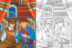 Prince in the castle chamber - two men talking - prince or king and the servant - good looking manga men - with coloring page. Happy and colorful traditional Stock Images