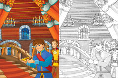 Prince in the castle chamber - two men talking - prince or king and the servant - good looking manga men. Happy and colorful traditional illustration for Stock Images