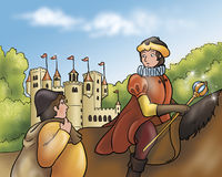 Prince and castle -Fairy tales. A digital illustration for Grimms fairy tale Rumpelstiltskin. The prince on his horse is talking with a miller near an ancient Royalty Free Stock Photography