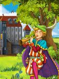 The prince- castles - knights and fairies - Manga style- illustration for the children. The happy and colorful illustration for the children Royalty Free Stock Photography