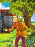 The prince- castles - knights and fairies - Manga style- illustration for the children. The happy and colorful illustration for the children Royalty Free Stock Image