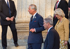 Prince Charles with Camilla, Duchess of Cornwall. WINNIPEG, CANADA - MAY 21,2014: Charles, Prince of Wales exits Manitoba Legislative Building after speech to stock images