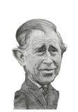 Prince Charles Förlöjliga Skissa Royaltyfri Bild