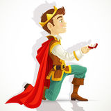 Prince Charming asking the marriage Stock Photography