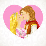 Prince Charming kisses the princess card Stock Photos