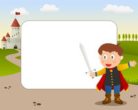 Prince Charming Photo Frame. A funny cartoon photo frame with a cute little prince charming with red cloak and a sword and a castle on background Royalty Free Stock Photography
