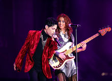 PRINCE IN CONCERT. The rock/ pop/ funk musician Prince in concert at the annual Sziget Festival in Budapest, Hungary, on Tuesday, August 9, 2011 Stock Image