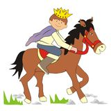 Prince on horseback. The Prince with a crown on his head riding his horse. Picture for children Stock Photo