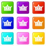 Prince crown icons 9 set. Prince crown icons of 9 color set isolated vector illustration Stock Images