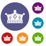 Prince crown icons set. In flat circle red, blue and green color for web Stock Photo