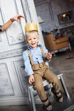 Prince cute baby smiling cheerful happy with crown Royalty Free Stock Photography