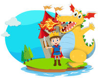 Prince and dragon blowing fire Royalty Free Stock Image