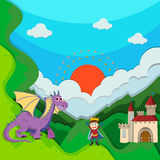Prince and dragon by the palace Royalty Free Stock Images