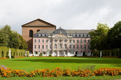 The architecture of Trier city in Germany. The prince electors palace and the roman basillica in Trier. Trier is the oldest city in Germany stock photos