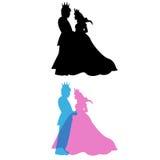 Prince et princesse avec la couronne, le roi et la reine Image libre de droits
