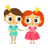 Prince et princesse de bande dessinée tenant des mains, caractère mignon de vecteur illustration de vecteur
