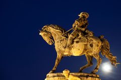 Prince Eugene of Savoy Statue at Night. Statue of Prince Eugene of Savoy from 1897 at full moon night, originally located in front of the Buda Castle in Budapest Stock Photos