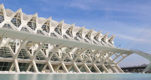 Prince felipe museum of science day light agora bridge view 4k valencia spain stock footage