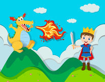 Prince fighting with the dragon. Illustration Stock Photos