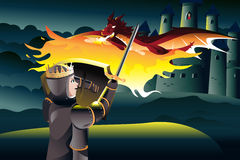 Prince fighting dragon while rescuing princess. A vector illustration of a classic children tale of a prince trying to rescue a princess Stock Photos