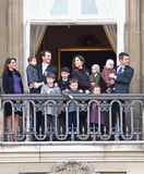 Prince Frederik and Prince Joachim. COPENHAGEN - JAN 15: Prince Frederik and Prince Joachim of Denmark and their families during the celebration of Queen Royalty Free Stock Photography