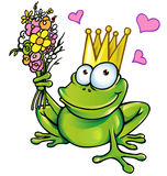 Prince frog with bouquet. And hearts Royalty Free Stock Photo