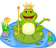 Prince frog cartoon presenting Stock Image