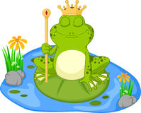 Prince frog cartoon sitting on a leaf Royalty Free Stock Photo