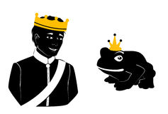 Prince and Frog. Illustration of a prince and a frog, both wearing crowns stock illustration