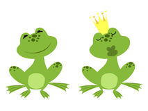 Prince frog. Regular sitting frog and charmed prince frog in a golden crown waiting for a kiss royalty free illustration