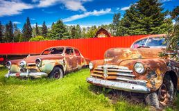 Prince George British Columbia Canada. On June 15, 2018 Old Cars on the Roadside royalty free stock photography