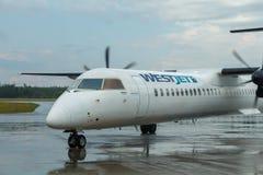 Prince George, Circa 2018 - Westjet Bombadier Dash 8 at Airport royalty free stock photo