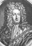 Prince George of Denmark. And Norway, Duke of Cumberland (1653-1708) on engraving from the 1700s. Husband of Queen Anne of Great Britain Stock Photography