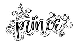Prince. Hand drawn creative modern calligraphy black-n-white royalty free illustration