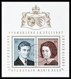 Prince Hans Adams and Countess Marie Aglae Kinsky on postage stamps. Cancelled block with postage stamps printed by Liechtenstein, that show portraits of prince stock photo