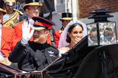 Prince Harry and Meghan Markle wedding 2018. The royal wedding of Prince Harry and Meghan Markle in Windsor UK 19th May 2018 royalty free stock image