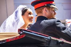 Prince Harry and Meghan Markle wedding. The royal wedding of Prince Harry and Meghan Markle in Windsor UK 19th May 2018 stock photo