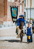 Prince on horseback followed by a squire beautiful woman stock images