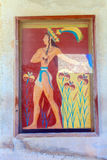 Prince of lilies plaster relief in Knossos palace ruins Royalty Free Stock Images