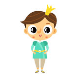 Prince, little boy, cartoon character isolated on white Stock Photography