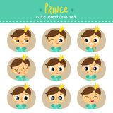 Prince, little boy cute emotions set Royalty Free Stock Images
