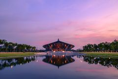 Prince Mahidol Hall. Shoot from lake side Royalty Free Stock Image