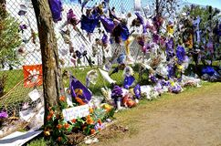 Prince memorials on Paisley Park fence Royalty Free Stock Photos