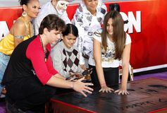 Prince Michael, Blanket and Paris Jackson. At the Michael Jackson Hand And Footprint Ceremony held at the Grauman`s Chinese Theatre in Los Angeles, California royalty free stock photo