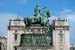 Prince Michael statue at Square of the Republic, Belgrade Stock Image