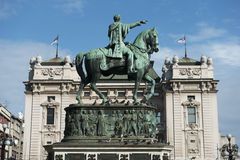 Prince Michael statue at Square of the Republic, Belgrade Stock Images